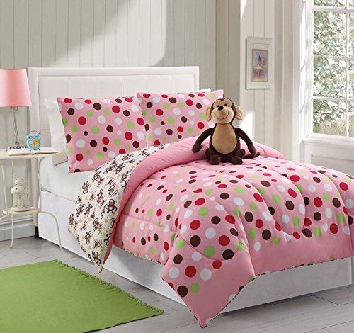 3 piece kidsteens twin reveresable comforter set pink polka dots design luxury bedinabag monkey furry friend included