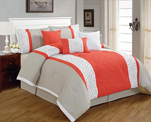 7 Pieces Luxury Coral Orange Beige And White Quilted