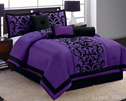 7 Piece Purple Black Flocked Comforter Set King Size New