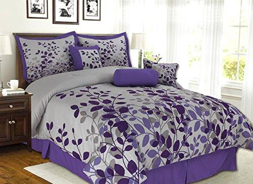 7 Piece Purple Lavender Grey Flocking Comforter Set Vine Bed In A Bag Queen Size Bedding Let S Buy Bedding
